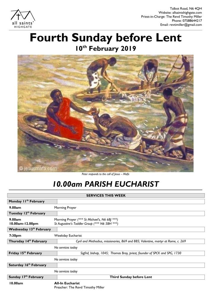 Fourth Sunday before Lent Poster